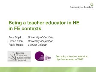 Being a teacher educator in HE in FE contexts