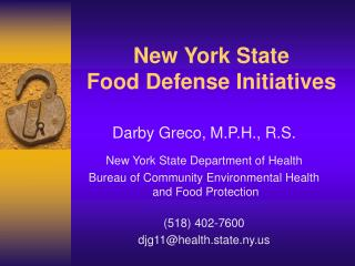 New York State Food Defense Initiatives