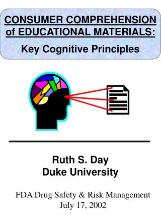 CONSUMER COMPREHENSION of EDUCATIONAL MATERIALS: Key Cognitive Principles