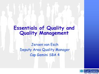 Essentials of Quality and  Quality Management