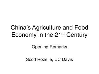 China's Agriculture and Food Economy in the 21 st  Century