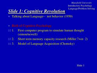 Slide  1 : Cognitive Revolution