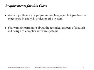 Requirements for this Class