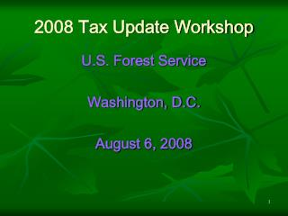 2008 Tax Update Workshop