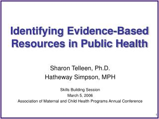 Identifying Evidence-Based Resources in Public Health