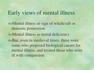 Early views of mental illness