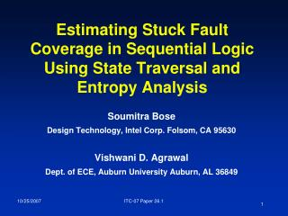 Estimating Stuck Fault Coverage in Sequential Logic Using State Traversal and Entropy Analysis
