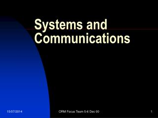 Systems and Communications