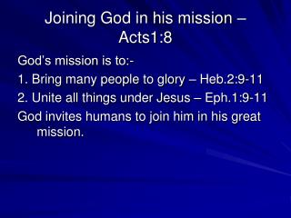 Joining God in his mission – Acts1:8
