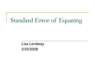 Standard Error of Equating