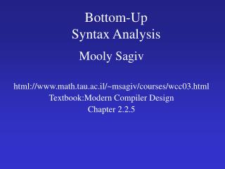 Bottom-Up  Syntax Analysis