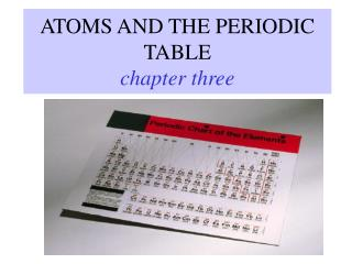 ATOMS AND THE PERIODIC TABLE chapter three