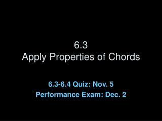 6.3 Apply Properties of Chords