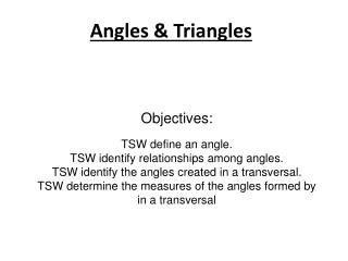 Angles & Triangles