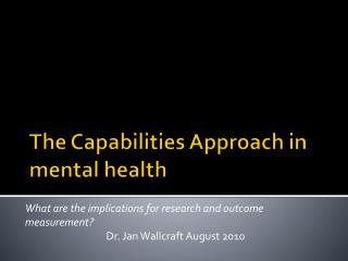 The Capabilities Approach in mental health