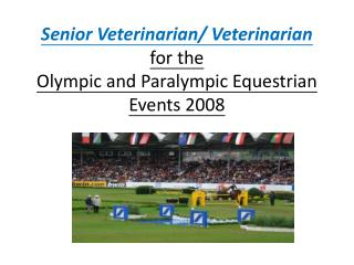 Senior Veterinarian/ Veterinarian  for the  Olympic and Paralympic Equestrian Events 2008