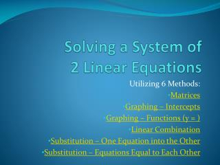Solving a System of  2 Linear Equations