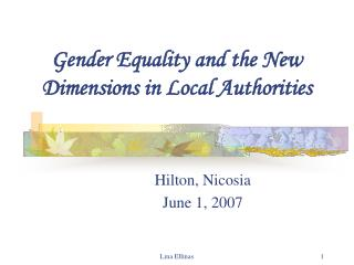 Gender Equality and the New  Dimensions in Local Authorities