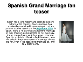 Spanish Grand Marriage fan teaser