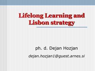 Lifelong Learning and Lisbon strategy