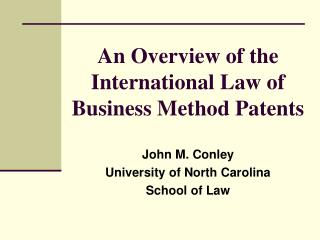 An Overview of the International Law of Business Method Patents