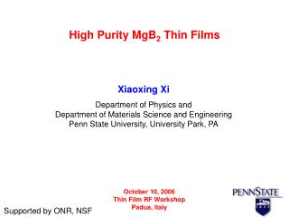 High Purity MgB 2  Thin Films