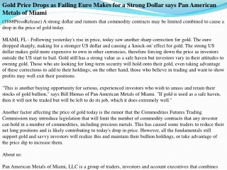 Gold Price Drops as Failing Euro Makes for a Strong Dollar s