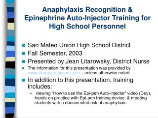 Anaphylaxis Recognition & Epinephrine Auto-Injector Training for High School Personnel