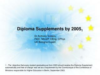 Diploma Supplements by 2005 1
