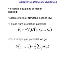 Chapter 9: Molecular-dynamics