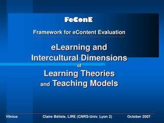 eLearning and  Intercultural Dimensions of  Learning Theories  and  Teaching Models