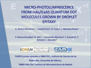 MICRO-PHOTOLUMINISCENCE FROM  InAs / GaAS  QUANTUM DOT MOLECULES GROWN BY DROPLET EPITAXY