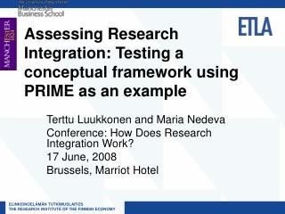 Assessing Research Integration: Testing a conceptual framework using PRIME as an example