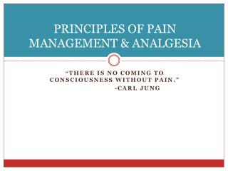 PRINCIPLES OF PAIN MANAGEMENT & ANALGESIA