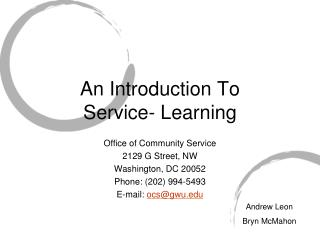 An Introduction To  Service- Learning