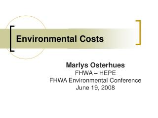 Environmental Costs