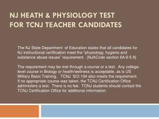 NJ Heath & Physiology test for TCNJ  Teacher Candidates