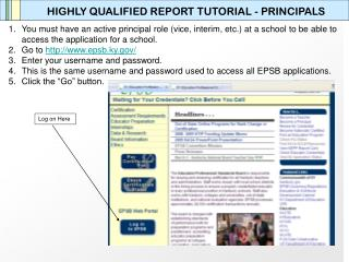 HIGHLY QUALIFIED REPORT TUTORIAL - PRINCIPALS