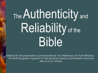The  Authenticity  and  Reliability  of the  Bible