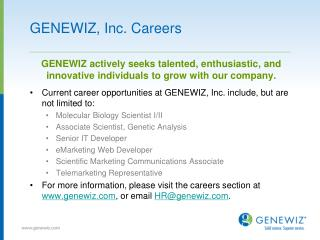 GENEWIZ, Inc. Careers