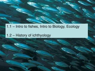 1.1 – Intro to fishes, Intro to Biology, Ecology 1.2 – History of ichthyology