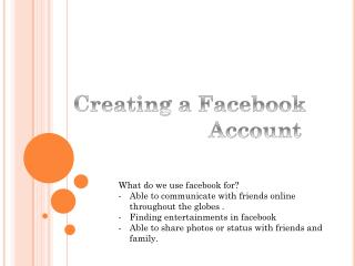 Creating a Facebook   Account