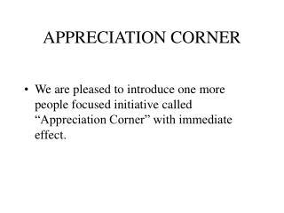 APPRECIATION CORNER