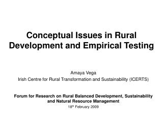 Conceptual Issues in Rural Development and Empirical Testing
