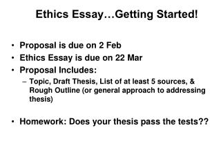 Ethics Essay…Getting Started!