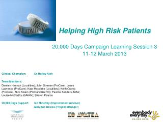 Helping High Risk Patients 20,000 Days Campaign Learning Session 3  11-12 March 2013