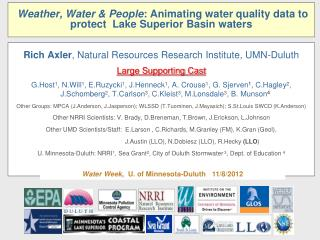 Weather, Water & People : Animating water quality data to protect  Lake Superior Basin waters