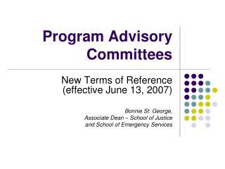 Program Advisory Committees