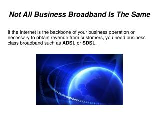Business Networking and Broadband