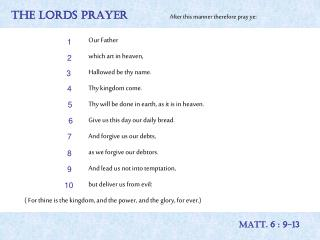 THE LORDS PRAYER After this manner therefore pray ye: